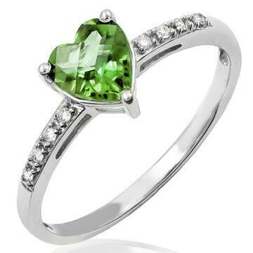 Heart Peridot Ring with Diamond Accent 14KT Gold