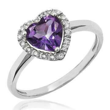 Heart Amethyst Ring with Diamond Frame White Gold