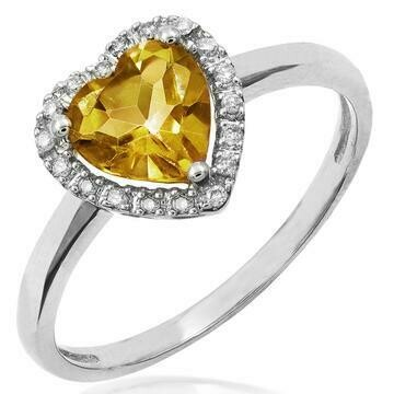 Heart Citrine Ring with Diamond Halo 14KT Gold