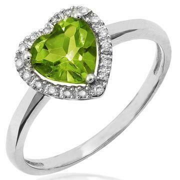 Heart Peridot Ring with Diamond Halo 14KT Gold