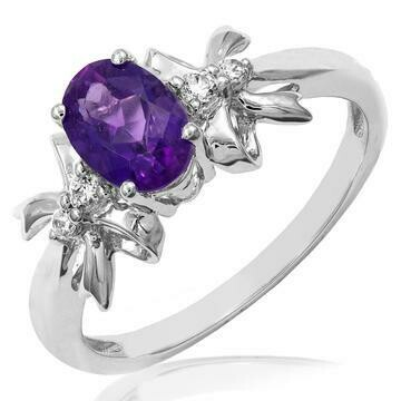 Oval Amethyst Ring with Double Bows Diamond Accent White Gold