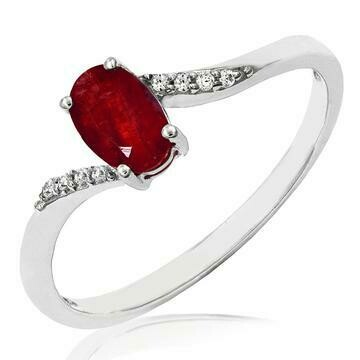 Oval Ruby Bypass Ring with Diamond Accent 14KT Gold