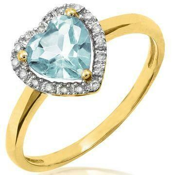 Heart Aquamarine Ring with Diamond Frame Yellow Gold