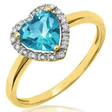 Heart Blue Topaz Ring with Diamond Frame Yellow Gold
