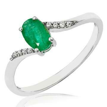 Oval Emerald Bypass Ring with Diamond Accent White Gold