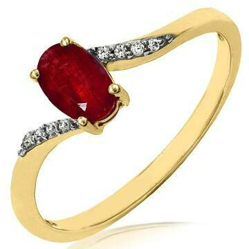 Oval Ruby Bypass Ring with Diamond Accent Yellow Gold