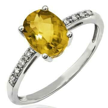 Oval Citrine Ring with Diamond Accent White Gold