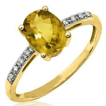 Oval Citrine Ring with Diamond Accent Yellow Gold