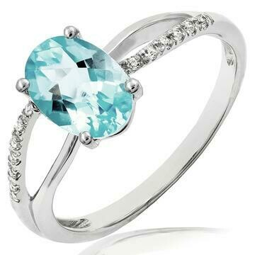 Oval Aquamarine Ring with Diamond Accent and Split Shoulders White Gold