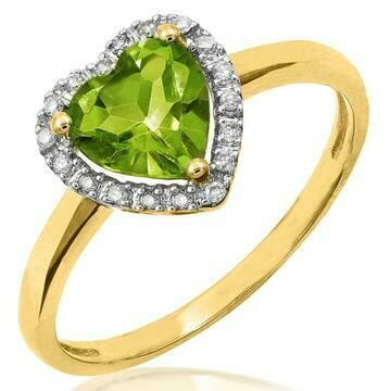 Heart Peridot with Diamond Frame Yellow Gold