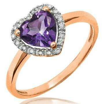 Heart Amethyst with Diamond Frame Rose Gold