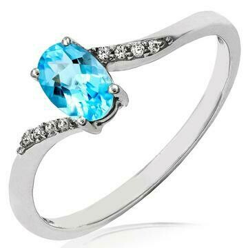 Oval Blue Topaz Bypass Ring with Diamond Accent 14KT Gold