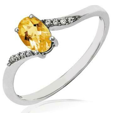 Oval Citrine Bypass Ring with Diamond Accent White Gold