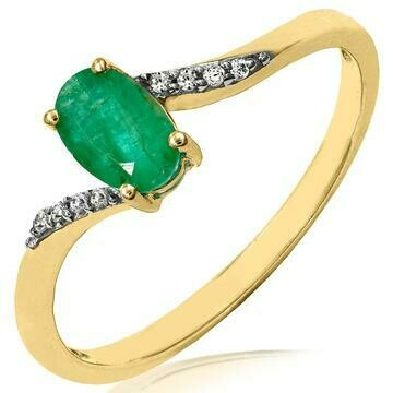 Oval Emerald Bypass Ring with Diamond Accent Yellow Gold