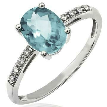 Oval Aquamarine Ring with Diamond Accent White Gold