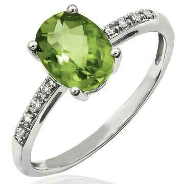 Oval Peridot Ring with Diamond Accent 14KT Gold
