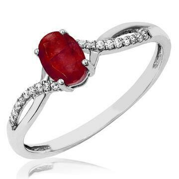 Oval Ruby Ring with Diamond Accent and Split Shoulders White Gold