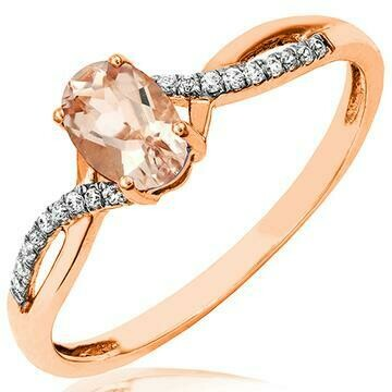 Oval Morganite Ring with Diamond Accent and Split Shoulders 14KT Gold