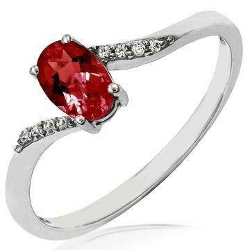 Oval Garnet Bypass Ring with Diamond Accent 14KT Gold