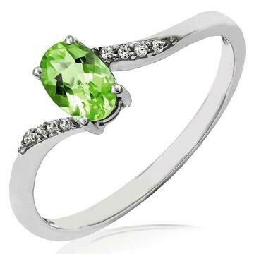 Oval Peridot Bypass Ring with Diamond Accent 14KT Gold