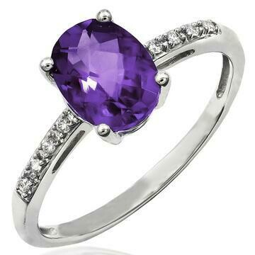 Oval Amethyst Ring with Diamond Accent 14KT Gold