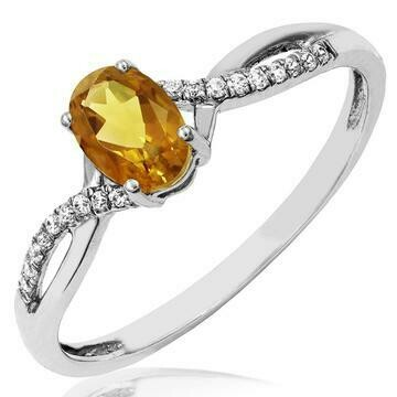 Oval Citrine Ring with Diamond Accent and Split Shoulders White Gold