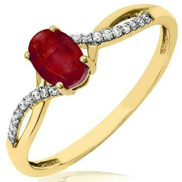 Oval Ruby Ring with Diamond Accent and Split Shoulders Yellow Gold