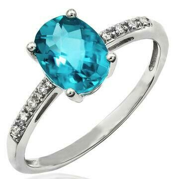 Oval Blue Topaz Ring with Diamond Accent 14KT Gold