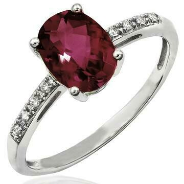 Oval Garnet Ring with Diamond Accent 14KT Gold