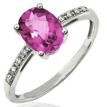 Oval Pink Topaz Ring with Diamond Accent 14KT Gold