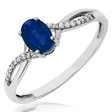 Oval Blue Sapphire Ring with Diamond Accent and Split Shoulders White Gold
