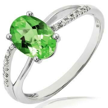 Oval Peridot Ring with Diamond Accent and Split Shoulders 14KT Gold