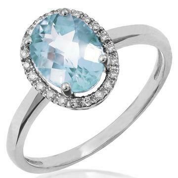 Oval Aquamarine Ring with Diamond Frame White Gold