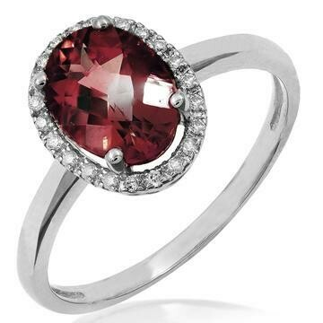 Oval Garnet Ring with Diamond Halo 14KT Gold