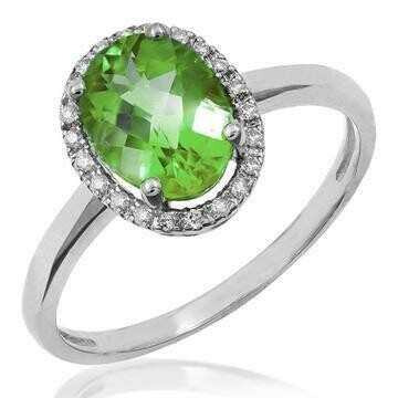 Oval Peridot Ring with Diamond Halo 14KT Gold