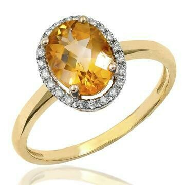 Oval Citrine Ring with Diamond Frame Yellow Gold