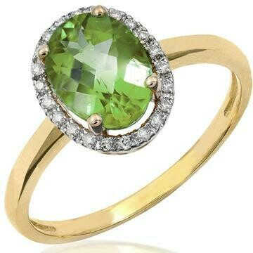 Oval Peridot Ring with Diamond Frame Yellow Gold