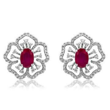 Floral Ruby Earrings with Diamond Accent