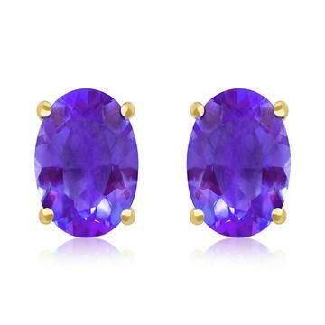 Oval Amethyst Earrings Yellow Gold