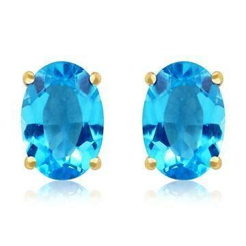 Oval Blue Topaz Earrings Yellow Gold