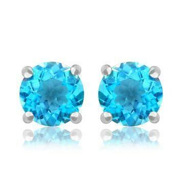 Round Blue Topaz Earrings 14KT Gold
