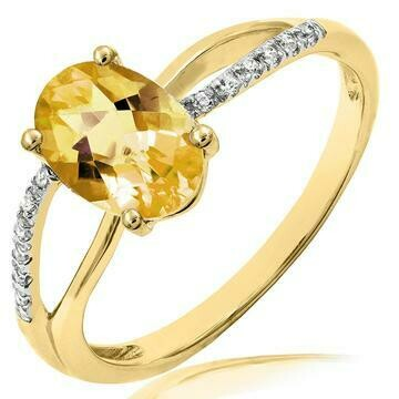 Oval Citrine Ring with Diamond Accent and Split Shoulders Yellow Gold