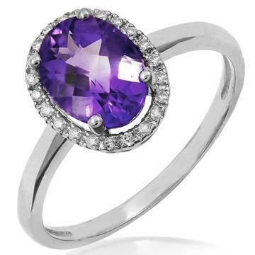 Oval Amethyst Ring with Diamond Halo 14KT Gold
