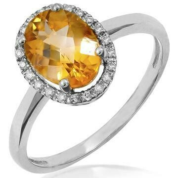 Oval Citrine Ring with Diamond Frame White Gold