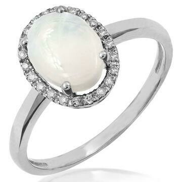 Oval Opal Ring with Diamond Frame White Gold
