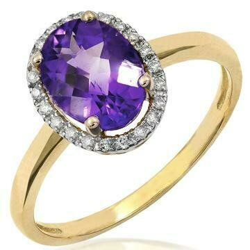 Oval Amethyst Ring with Diamond Frame Yellow Gold