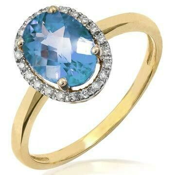 Oval Blue Topaz Ring with Diamond Frame Yellow Gold