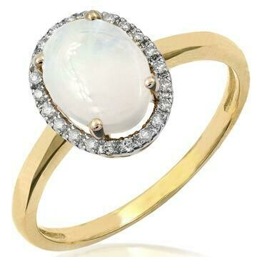 Oval Opal Ring with Diamond Frame Yellow Gold