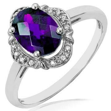 Vintage Inspired Oval Amethyst Ring with Diamond Frame White Gold