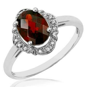 Vintage Inspired Oval Garnet Ring with Diamond Halo 14KT Gold